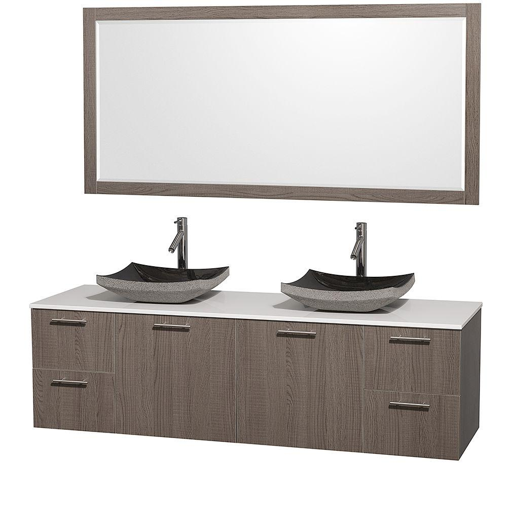Wyndham Collection Amare 72 In Double Vanity Grey Oak With Gl Top
