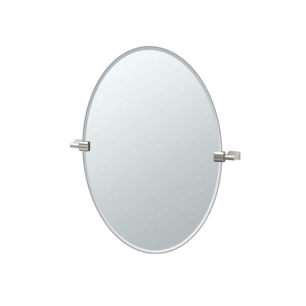 Bleu 20 in. W x 27 in. H Frameless Oval Beveled Edge Bathroom Vanity Mirror in Satin Nickel