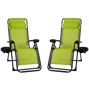 Patio Premier Metal Outdoor Recliner Gravity Chairs in Green (2-Pack)