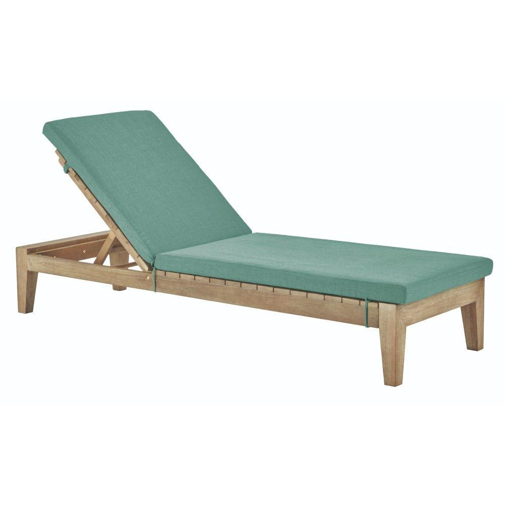 Bermuda Distressed Grey All Weather Patio Chaise with Spa Blue Fabric