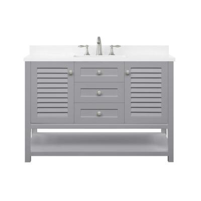 Grace 48 in. W x 22 in. D Bath Vanity in Pebble Grey with Cultured Marble Vanity Top in White with White Basin