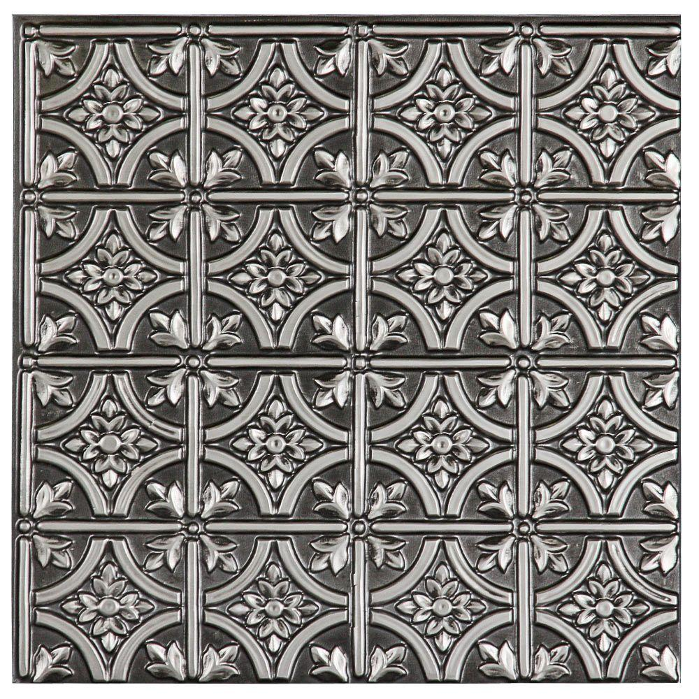 uDecor Valencia 2 ft. x 2 ft. Lay-in or Glue-up Ceiling Tile in Antique Silver (48 sq. ft. / case)
