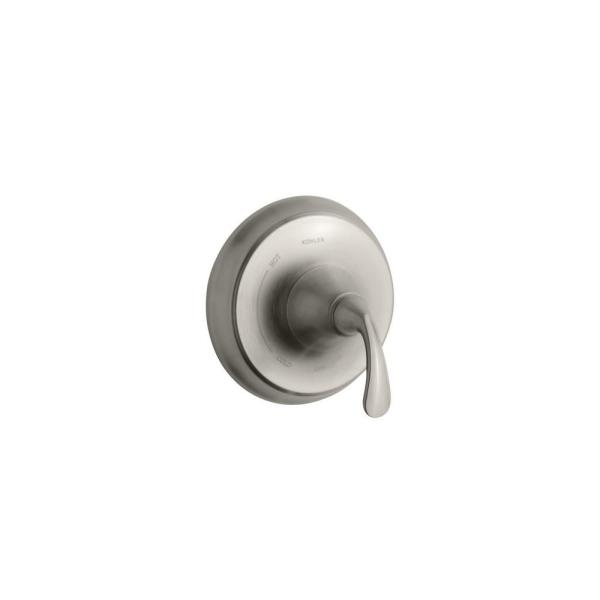 Fort Rite-Temp 1-Handle Wall-Mount Tub and Shower Faucet Trim Kit in Vibrant Brushed Nickel (Valve not included)