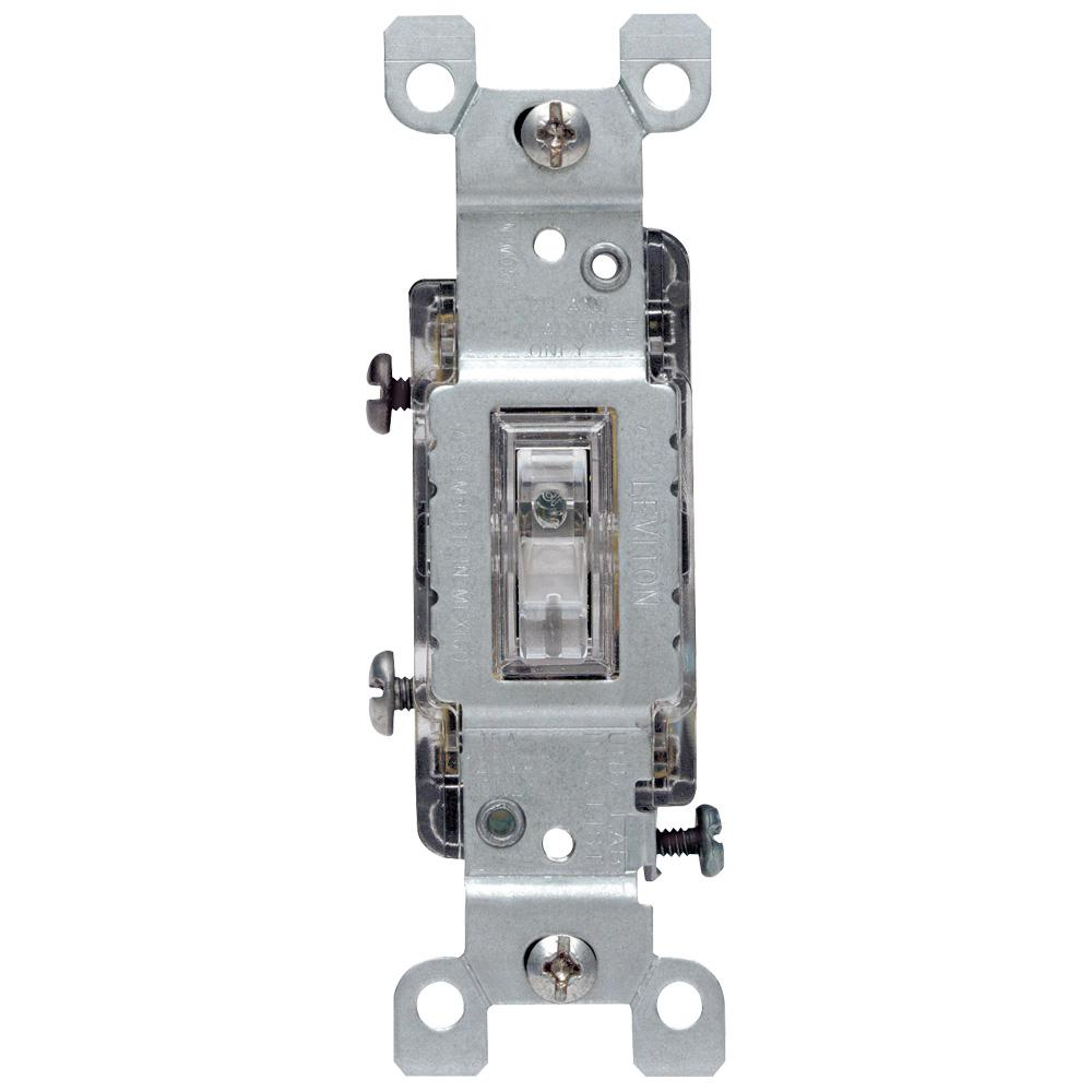 Leviton 15 Amp Illuminated Toggle Switch, Clear on