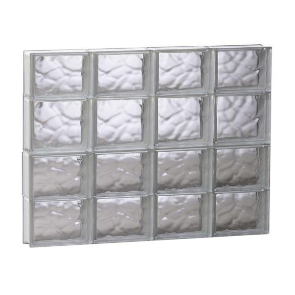 31 in. x 25 in. x 3.125 in. Frameless Wave Pattern Non-Vented Glass Block Window