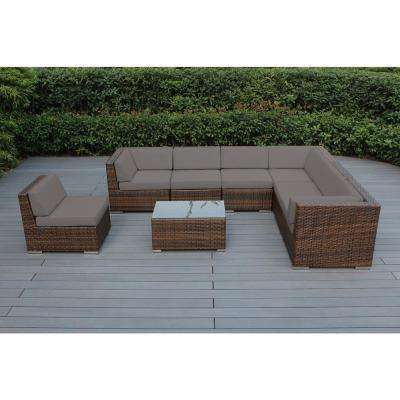 Ohana Mixed Brown 8-Piece Wicker Patio Seating Set with Sunbrella Taupe Cushions