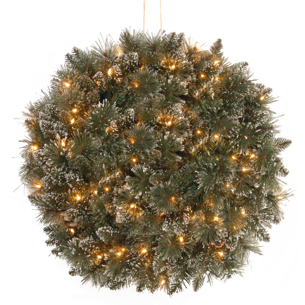 16 in. Glittery Bristle Pine Kissing Ball with Battery Operated Warm