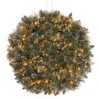 16 in. Glittery Bristle Pine Kissing Ball with Battery Operated Warm White LED Lights