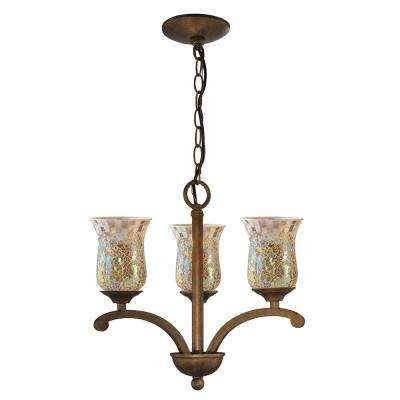 Apsley 3-Light Antique Golden-Sand Chandelier with Mosaic Shade