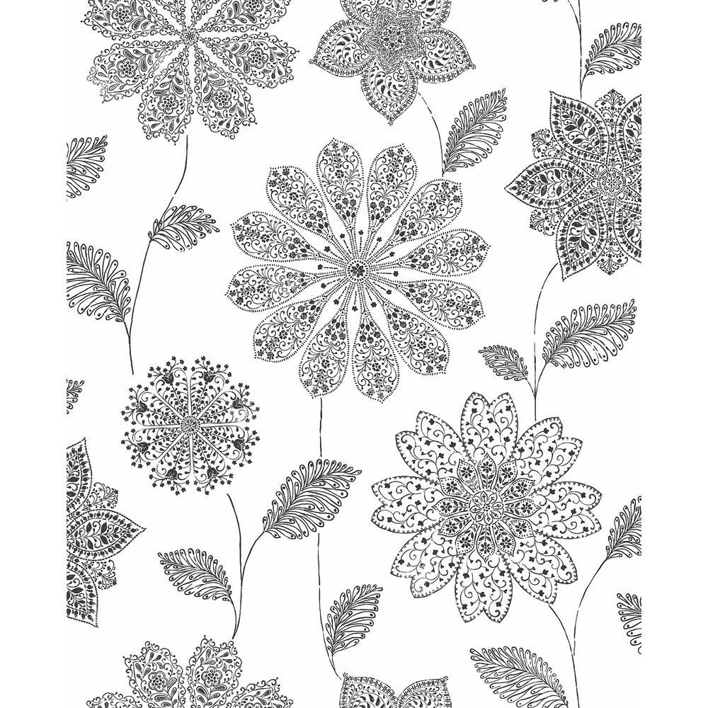A-Street Panache Black Floral Wallpaper