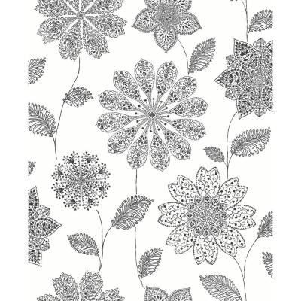 Panache Black Floral Wallpaper
