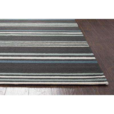 Azzura Hill Dark Grey Striped 2 ft. x 3 ft. Indoor/Outdoor Area Rug