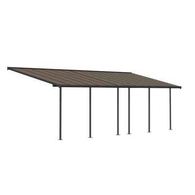 Sierra 10 ft. x 28 ft. Gray/Bronze Patio Cover Awning