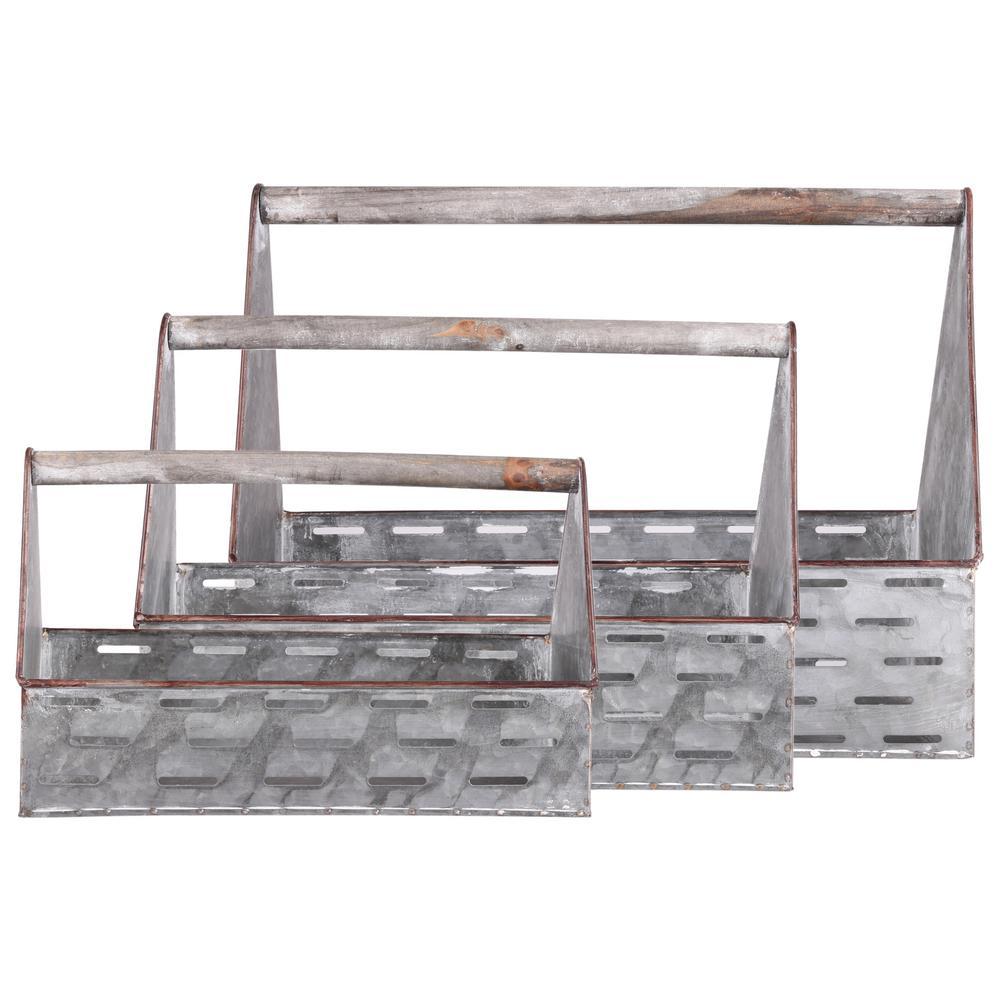 Galvanized Gray Metal Decorative Caddy (Set of 3)