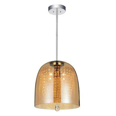 Movement 4-Light Chrome Chandelier with Cognac Shade