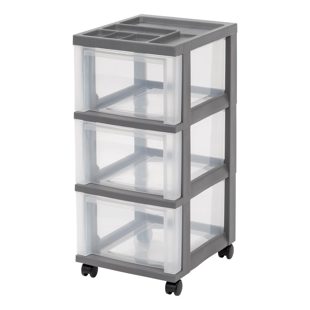 Gray Medium 3-Drawer Storage Cart with  sc 1 st  The Home Depot & IRIS 12.05 in. x 26.44 in. Gray Medium 3-Drawer Storage Cart with ...