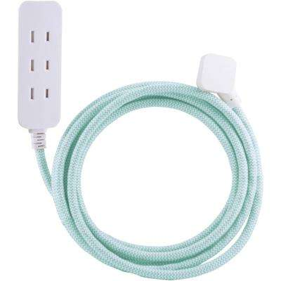 10 ft. Decor Extension Cord with 3 Polarized Outlets Surge Protection, Mint/White