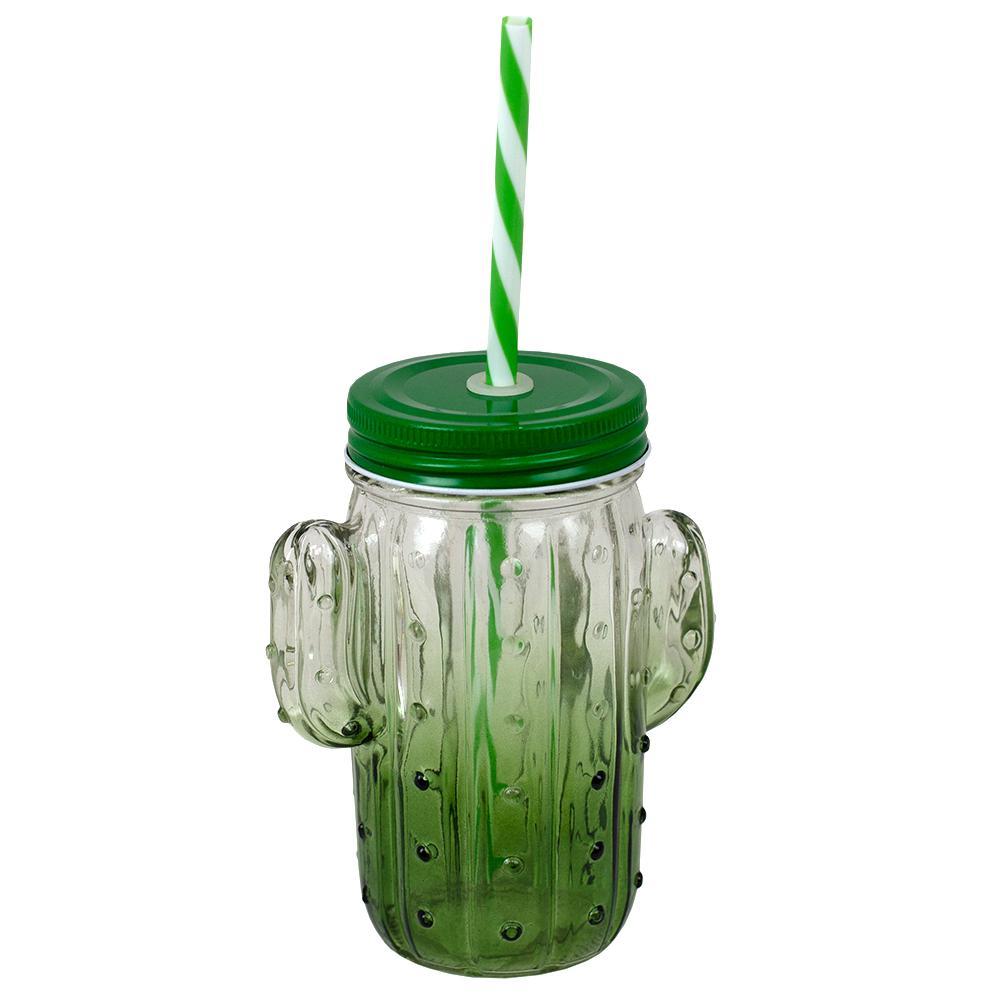 4-Piece 13.5 oz. Cactus Glass Mason Jar