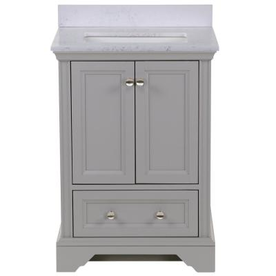 Stratfield 25 in. W x 22 in. D Bath Vanity in Sterling Gray with Stone Effect Vanity Top in Pulsar with White Sink