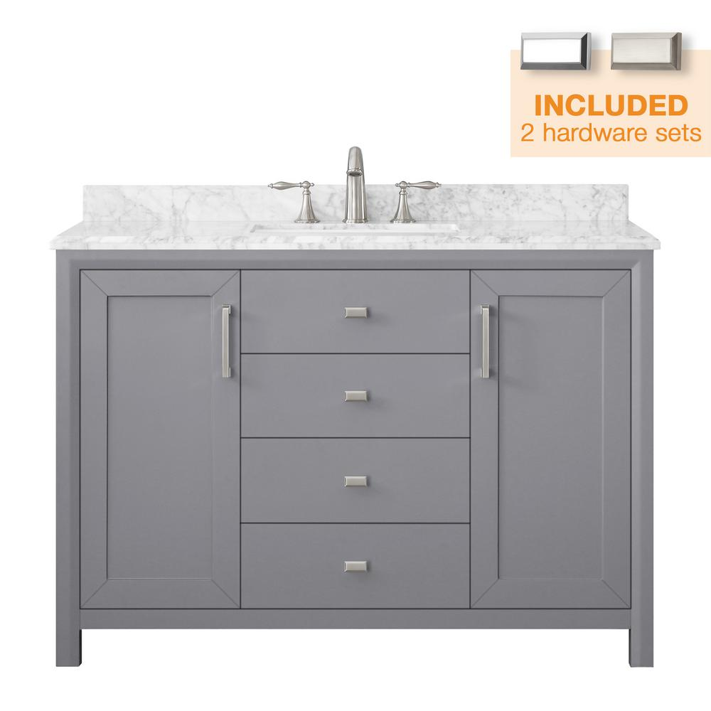 Home Decorators Collection Rockleigh 48 in. W x 22 in. D Bath Vanity in Pebble Grey with Marble Vanity Top in Carrara White with White Basin