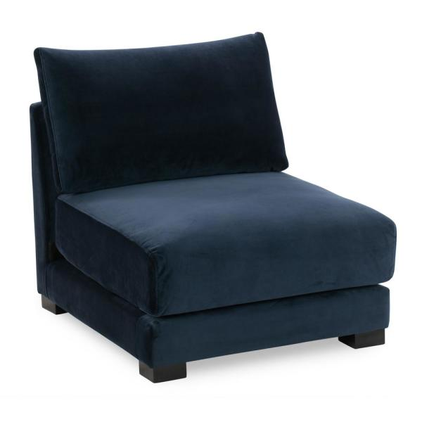 Shelby Oxford Blue Fabric 3-Seater Armless Sectional Sofa Chair
