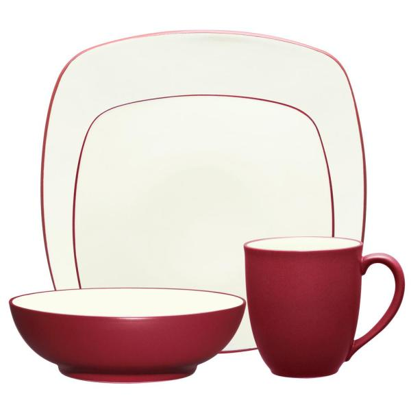 Colorwave Square 4-Piece Casual Raspberry Stoneware Dinnerware Set (Service for 1)