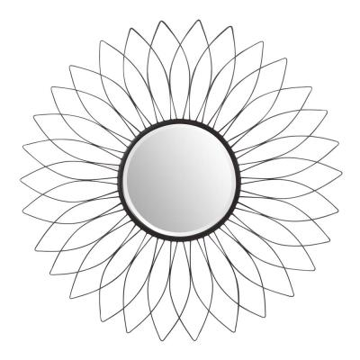 38 in. Diameter Home Decorators Collection Sunburst Black Wire Accent Mirror with Beveled Glass