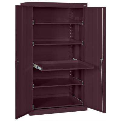 66 in. H x 36 in. W x 24 in. D Steel Heavy Duty Storage Cabinets with Pull-Out Tray Shelf in Burgundy