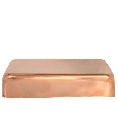 4 in. x 6 in. Copper Flat Top Slip Over Fence Post Cap with 3/4 in. Lip and Screws