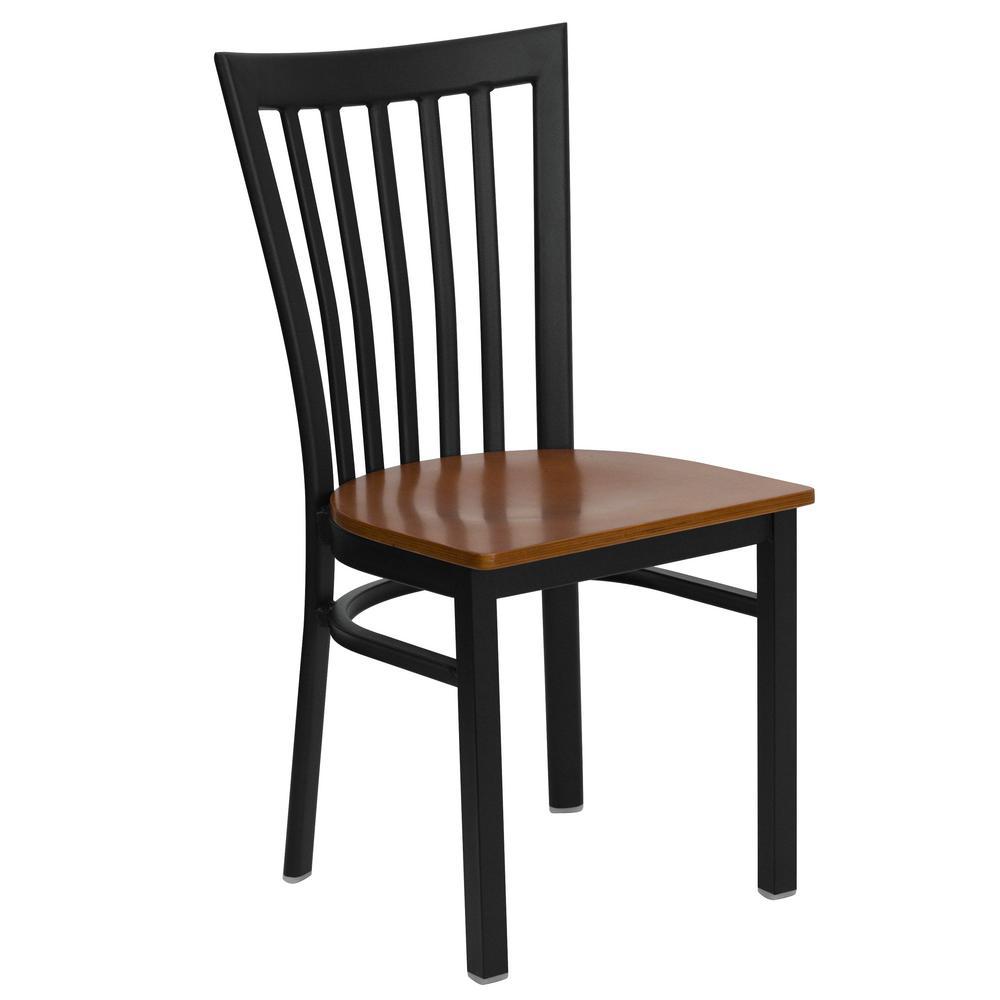 Hercules Series Black School House Back Metal Restaurant Chair - Cherry Wood Seat, Black/Red