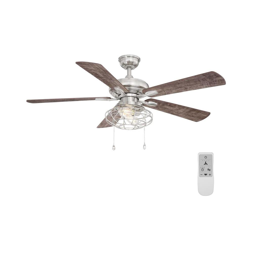 Home Decorators Collection Ellard 52 in. LED Brushed Nickel Ceiling Fan with Light Kit and WiFi Remote Control works with Google and Alexa
