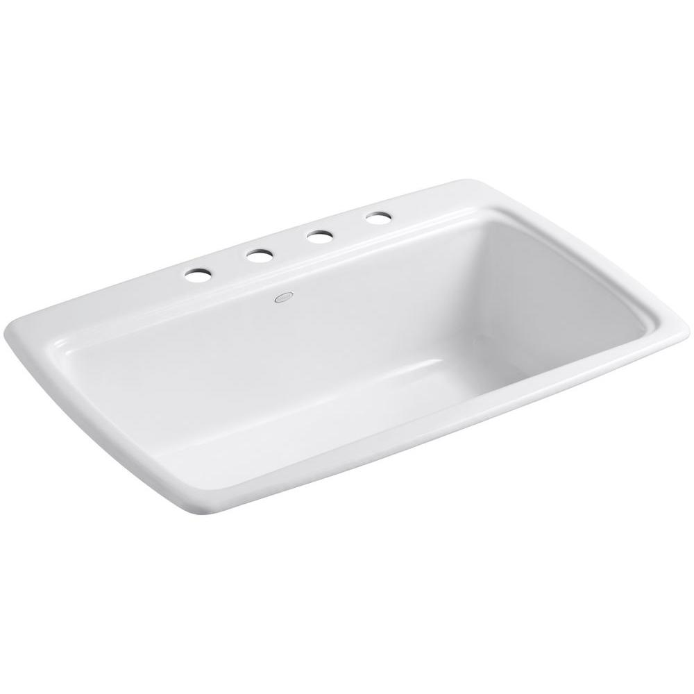 Beautiful KOHLER Cape Dory Drop In Cast Iron 33 In. 4 Hole Single Bowl Kitchen Sink  In White K RH5863 4 0   The Home Depot