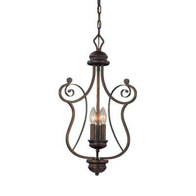 3-Light Rubbed Bronze Candle Pendant