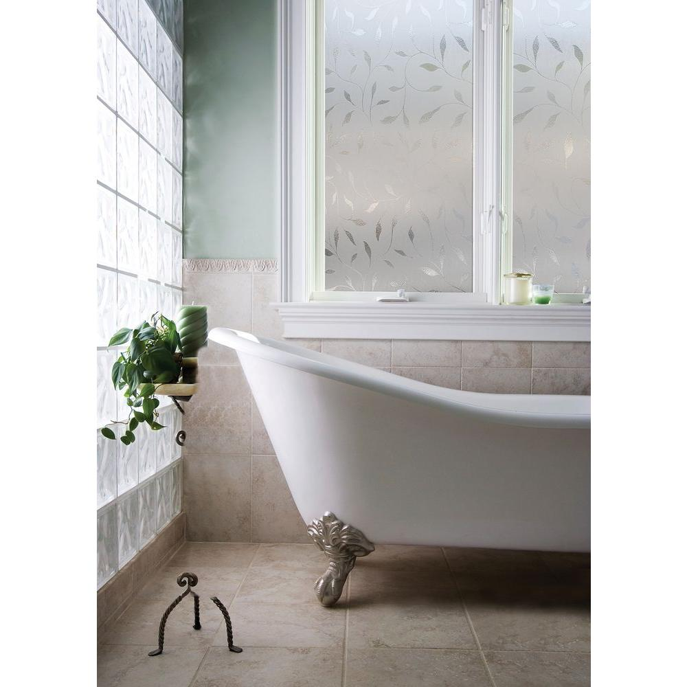 decorative glass bathroom windows artscape 24 in x 36 in etched leaf decorative window film 01  etched leaf decorative window film