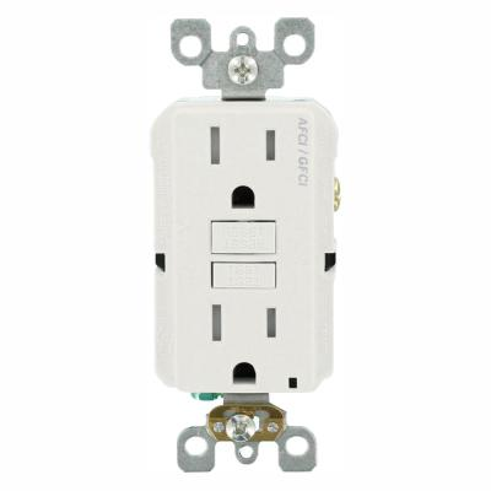 15 Amp 125-Volt Duplex Self-Test SmartlockPro Tamper Resistant AFCI/GFCI Dual Function Outlet, White (9-Pack)