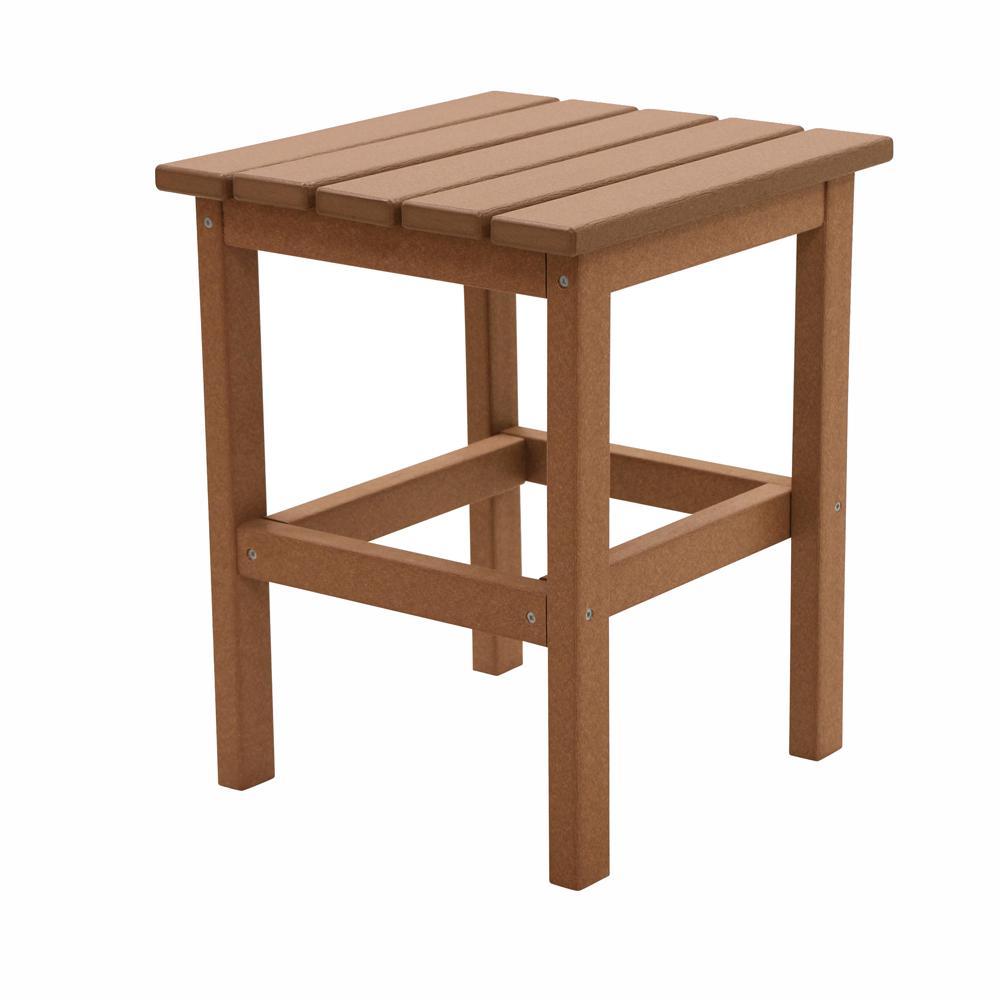 Side Table Teak.Durogreen Icon Teak Square Plastic Outdoor Side Table