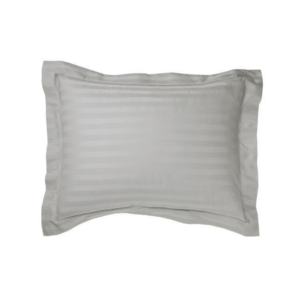 The Company Store Classic Stripe Platinum Sateen King Sham N4Q8-K-PLATINUM