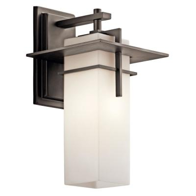 Caterham 14.75 in. 1-Light Olde Bronze Outdoor Wall Mount Sconce with Satin Etched Cased Opal Glass