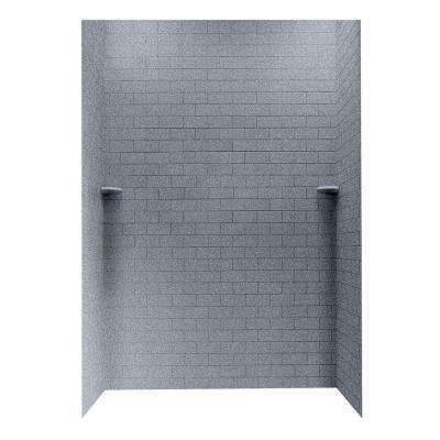 Subway Tile 36 in. x 62 in. x 96 in. 3-Piece Easy Up Adhesive Alcove Shower Surround in Night Sky