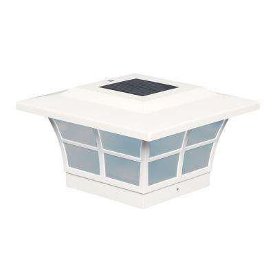 5 in. x 5 in. White PVC Outdoor Prestige Solar Post Cap (2-Pack)