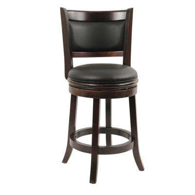 Augusta 24 in. Cappuccino Swivel Cushioned Bar Stool
