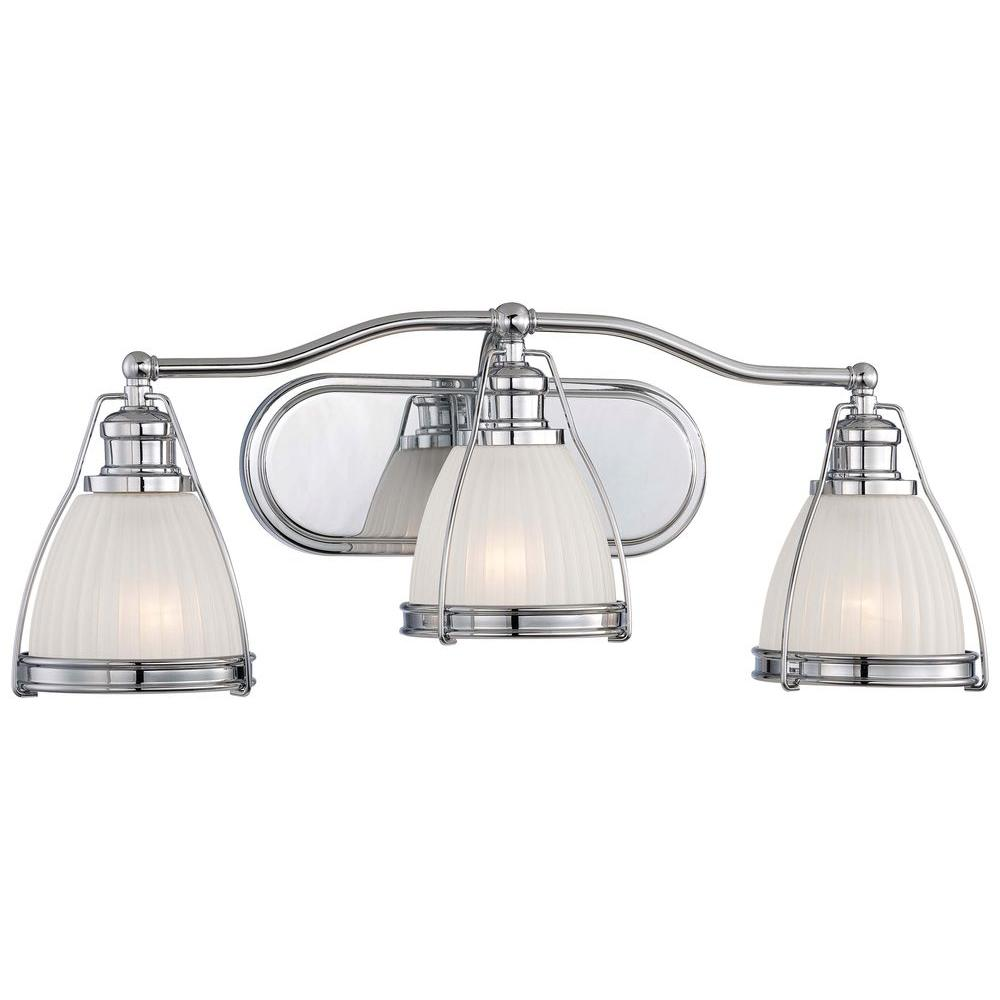 Three Light Bathroom Vanity Light: Minka Lavery 3-Light Chrome Bath Vanity Light-5793-77