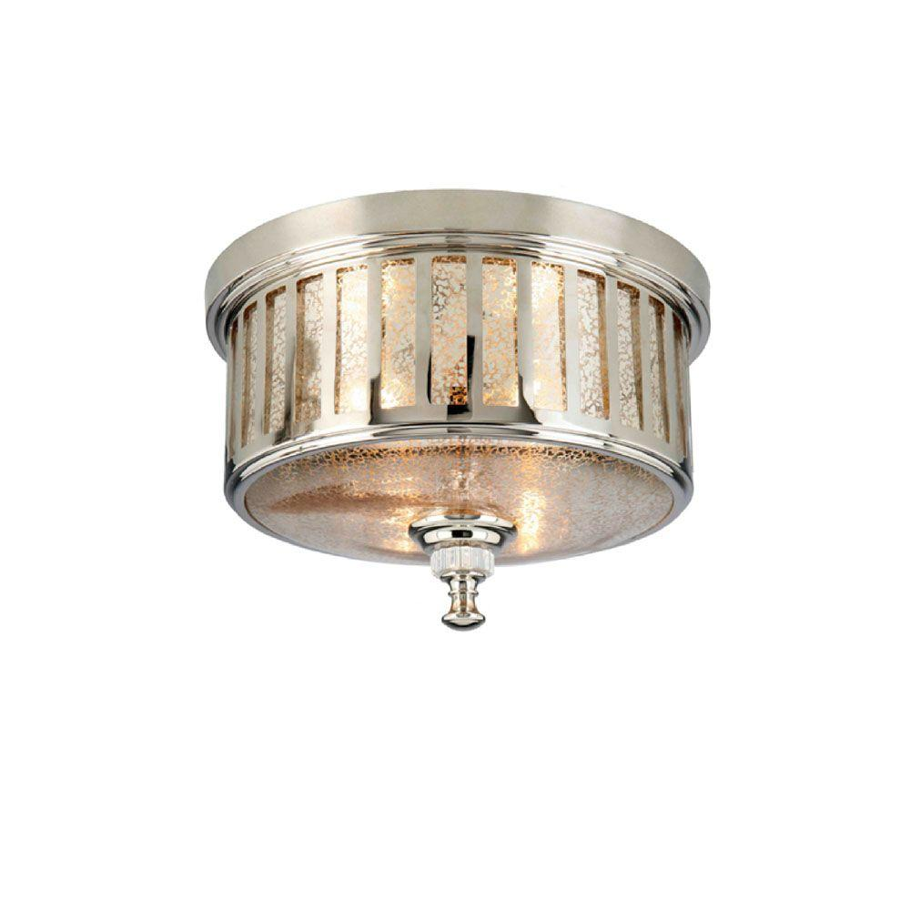 Hampton bay berzon 13 in 2 light english pewter round - Flush mount bathroom ceiling lights ...