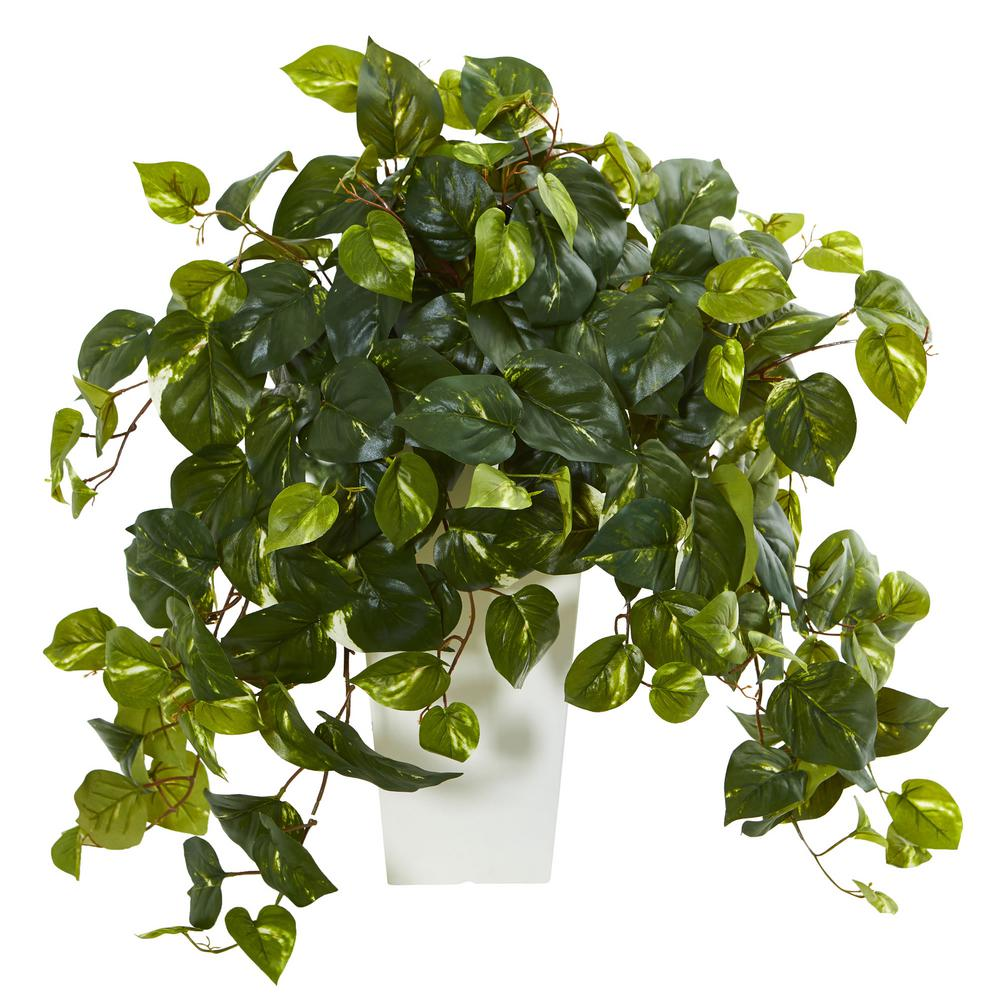 nearly natural pothos artificial plant in white tower vase-6402 Artificial Ornamental Plants
