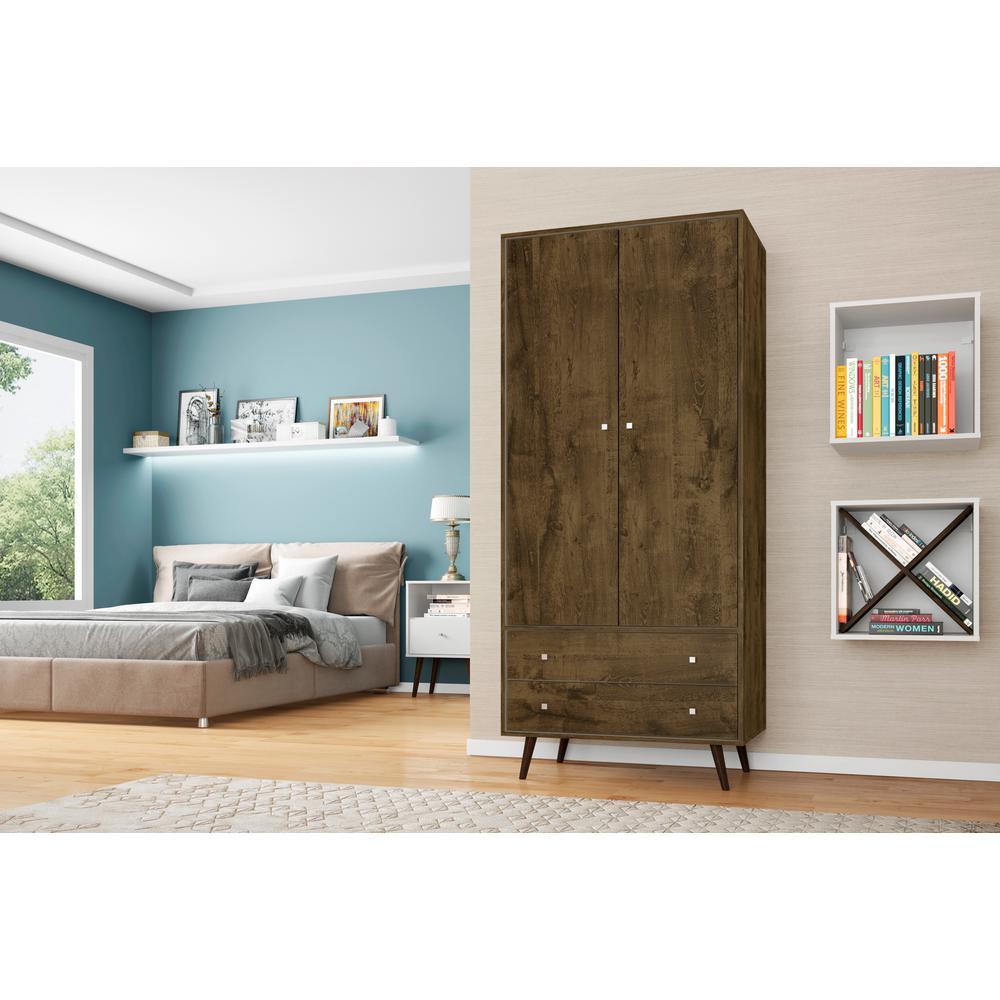 Rustic Brown Mid Century Modern Armoire With 2 Drawers