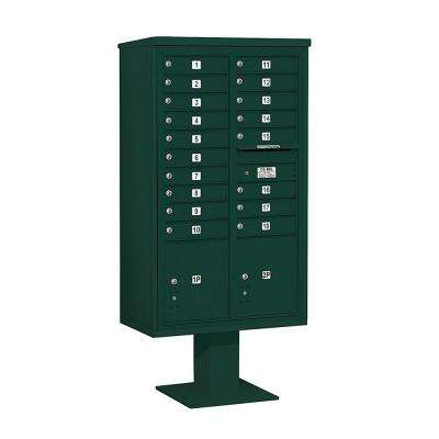 3400 Series 70-1/4 in. 15 Door High Unit Green 4C Pedestal Mailbox with 18 MB1 Doors/2 PL5