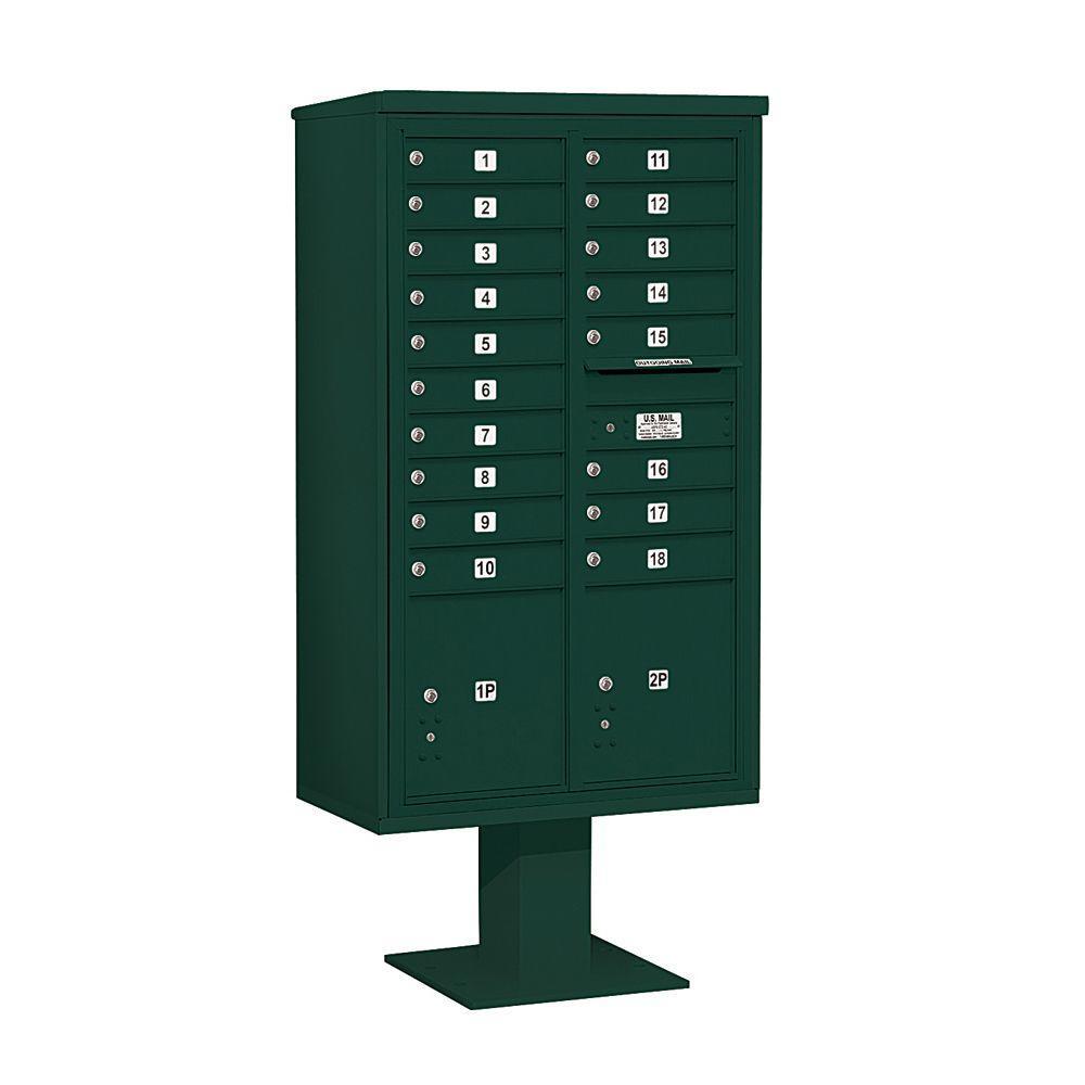 3400 Series 70-1/4 in. 15 Door High Unit Green 4C Pedestal Mailbox with 18 MB1 Doors/2 PL5
