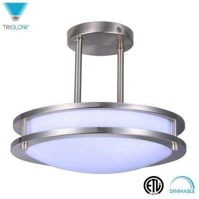 75-Watt Equivalent Brushed Nickel Soft White 12 in. Dimmable Integrated LED Semi-Flush Mount