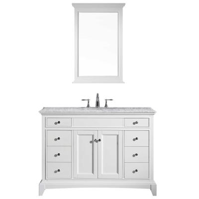 Elite Stamford 48 in. W x 23.5 in. D x 36 in. H Vanity in White with Carrera Marble Top in White with White Basin