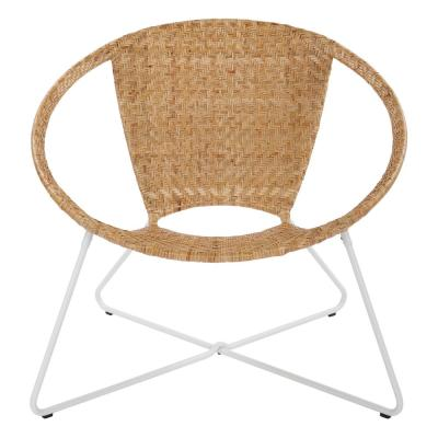 Navarre Beige Lounge Chair in Natural with White Frame